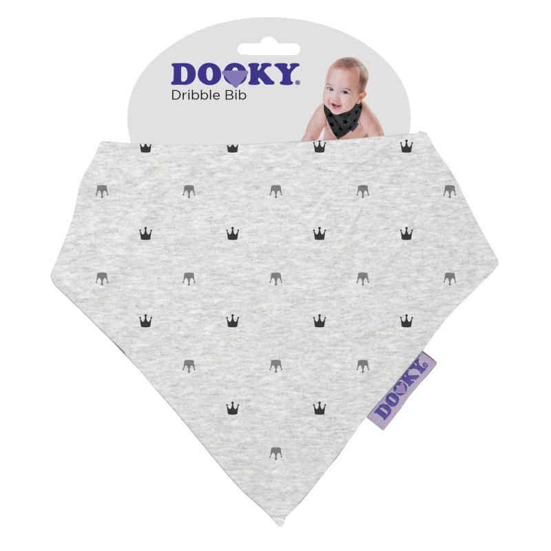 Produkt - Podbradník Dribble Bib Light Grey Crowns